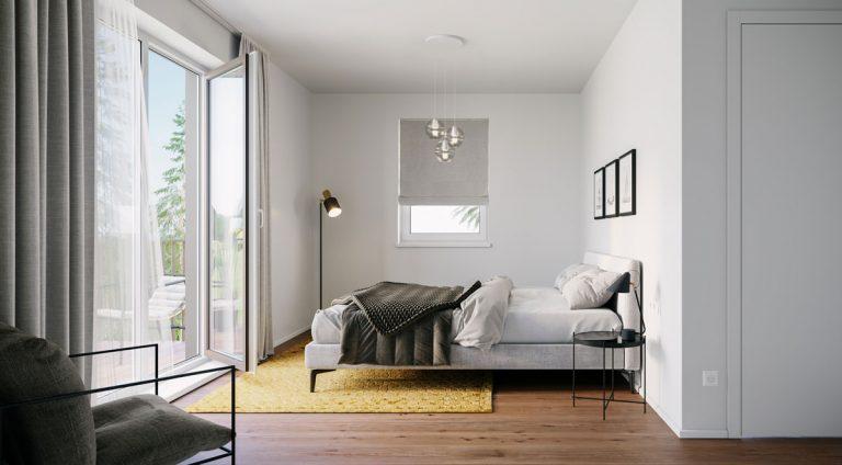 Warmes Eichenparkett als Boden und helle große Fensterflächen für Wohlgefühl im Schlafzimmer